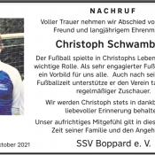 13.10.2021 - Nachruf Christoph Schwamborn